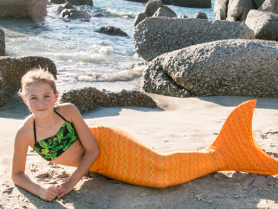 Mermaid Tail - Yellow with Orange Z Stripe